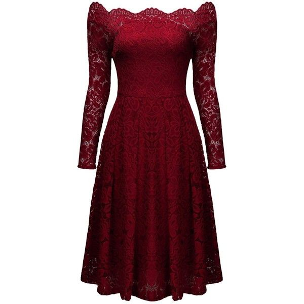MissMay Women's Vintage Floral Lace Long Sleeve Boat Neck Cocktail... ($40) ❤ liked on Polyvore featuring dresses, formal evening dresses, red long sleeve dress, red formal dresses, red evening dresses and red dress