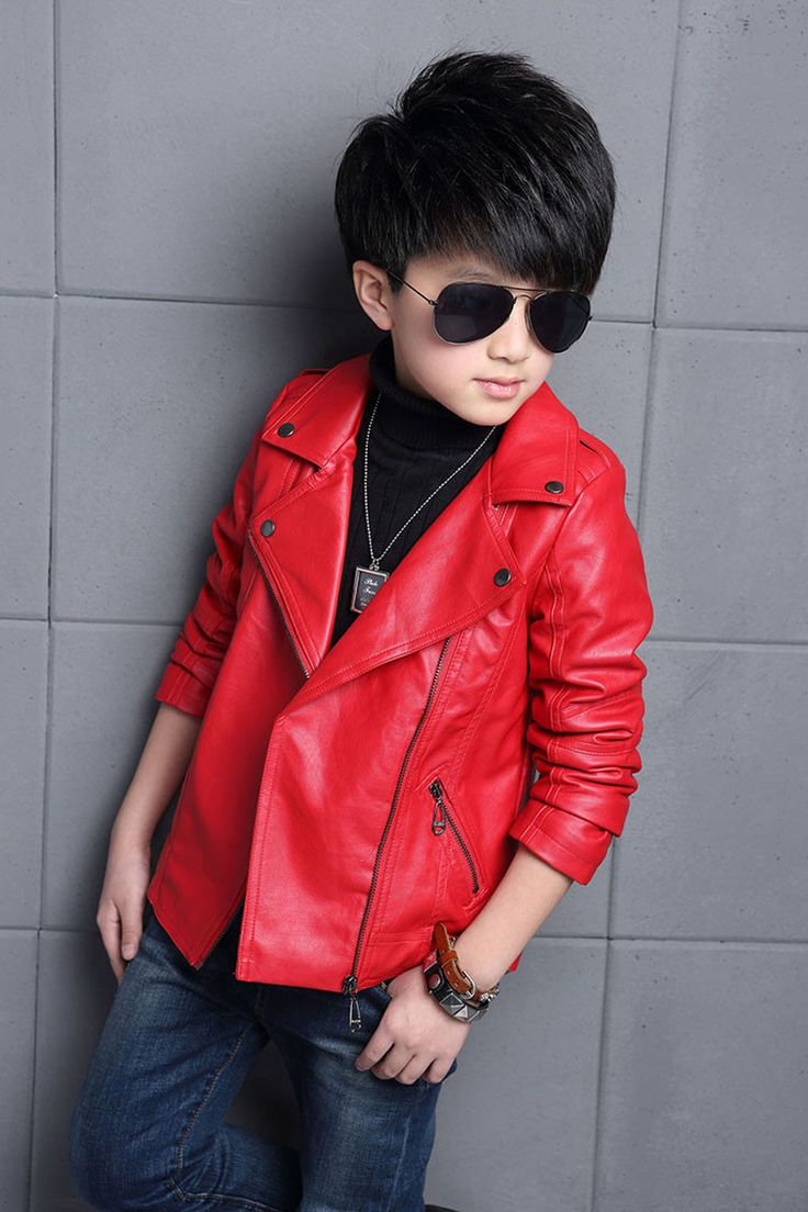 Kids Faux Leather Jacket suitable for 3-14 years old