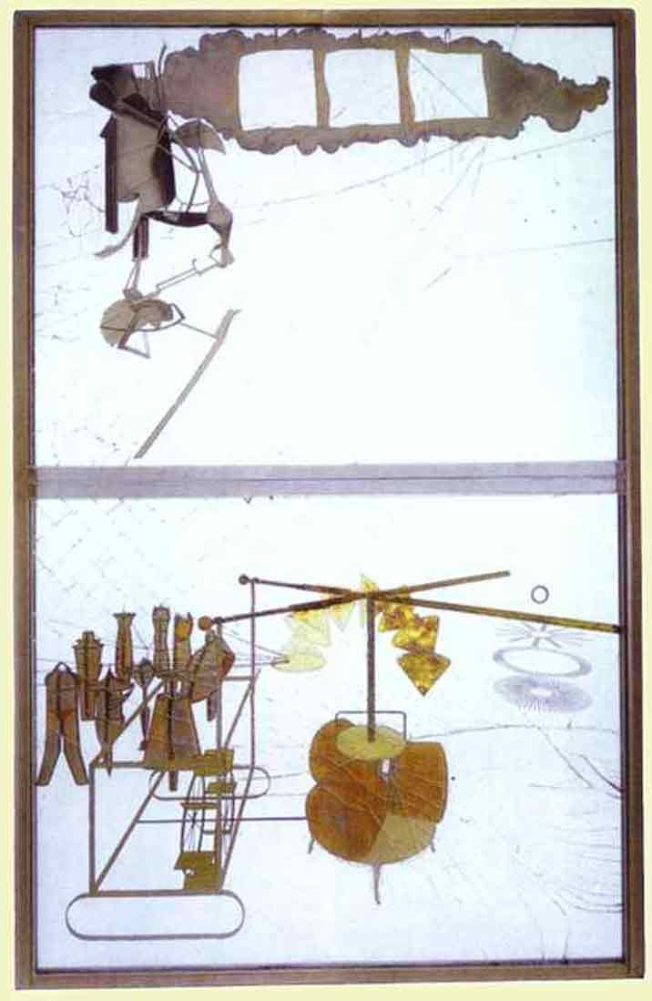 Marcel Duchamp, The Bride Stripped Bare by her Bachelors, Even (Large Glass) 1915-1923