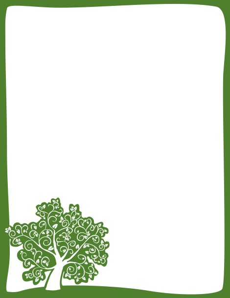 Green border with a stylish tree in the bottom left corner. Free downloads at http://pageborders.org/download/tree-border/