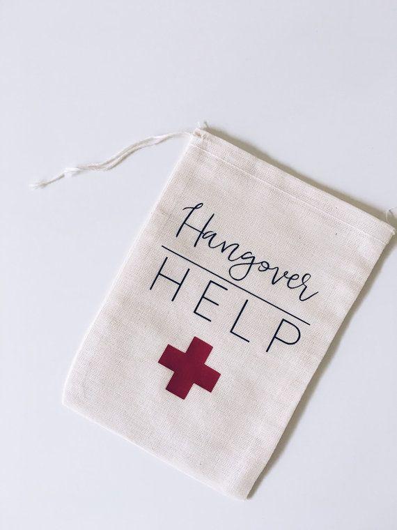 Hangover help // muslin party favor bags//bachelorette hangover kit