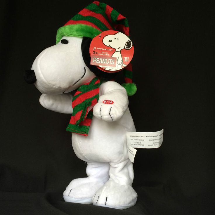 """Animated Snoopy Plush Peanuts Toy Dances Musical Linus & Lucy 15"""" Tall Christmas"""