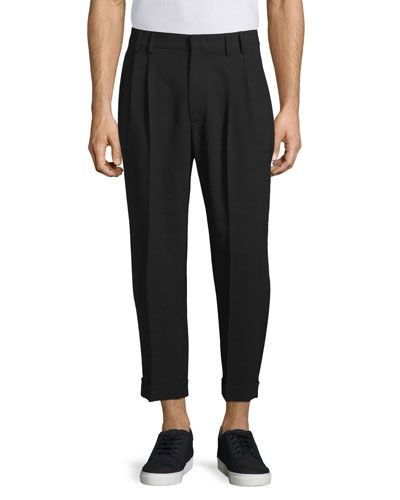 Ash Straight-Leg Cropped Trousers, Darkest Black