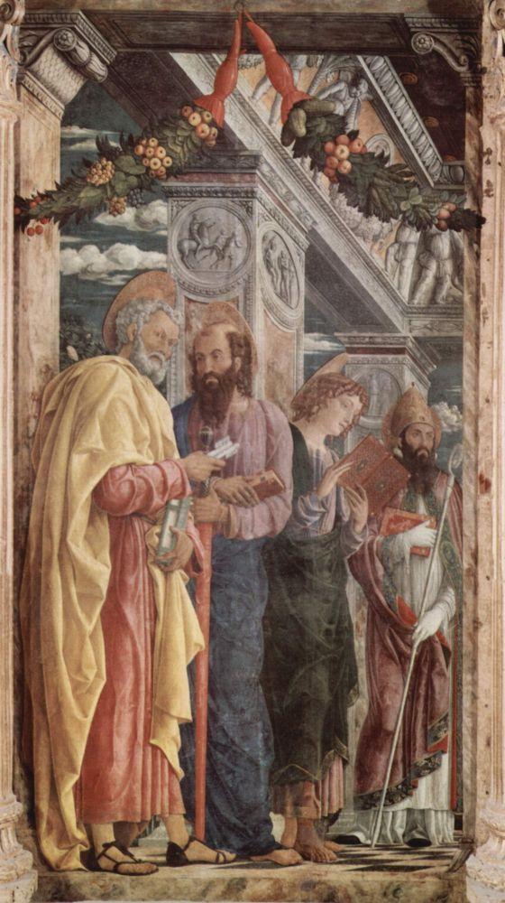 Андреа Мантенья. Алтарь церкви Сан Дзено в Вероне, триптих, левая доска. Апостолы Петр и Павел, евангелист Иоанн, св. Зенон, 1459 г.