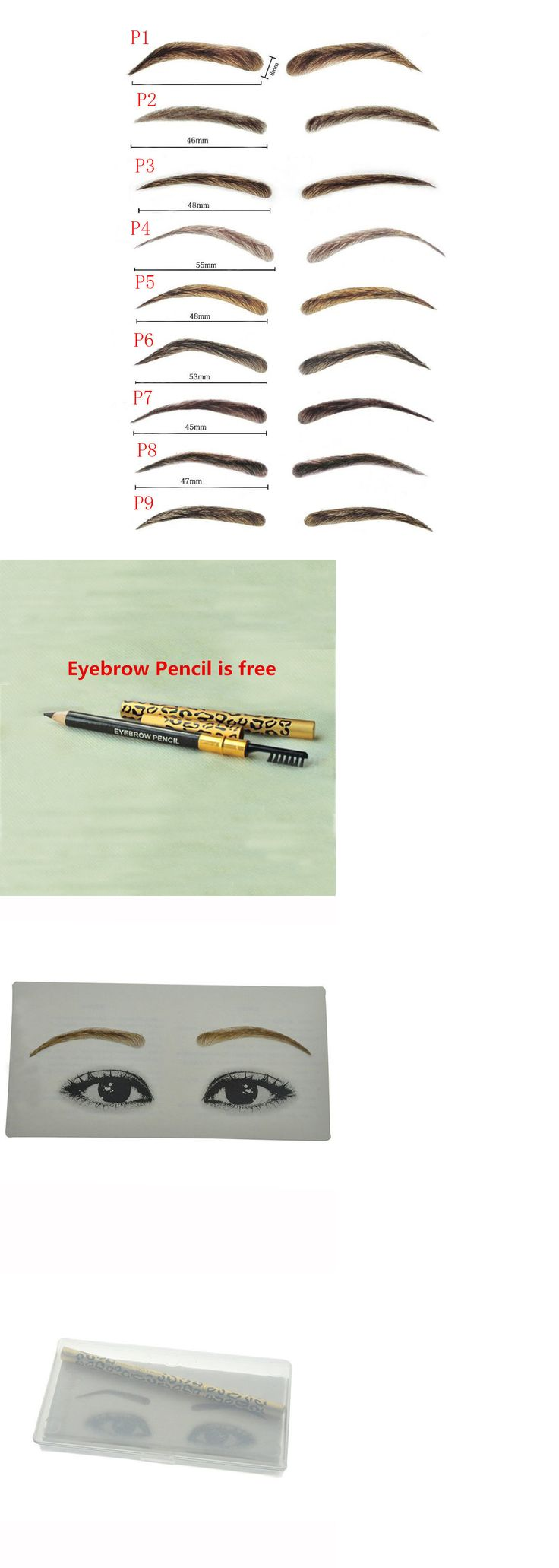 Eyebrow Liner and Definition: Bhd False Eyebrow Makeup Handmade 100% Natural Human Hair With Eyebrow Pencil BUY IT NOW ONLY: $39.87