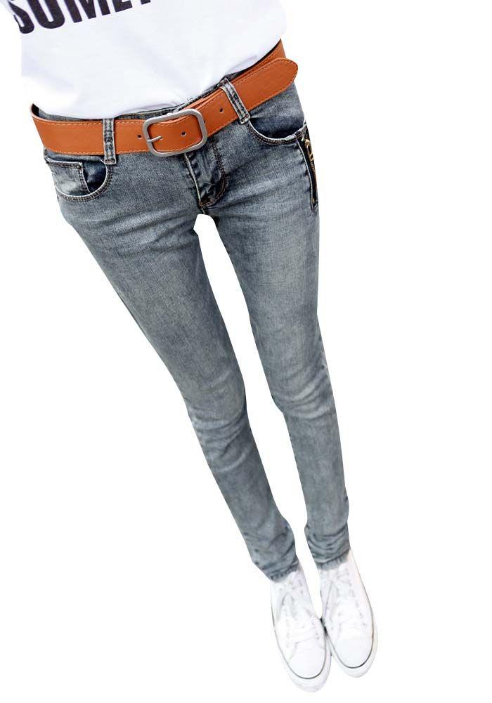2013 dżinsy rurki szary kolor