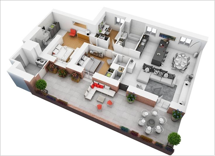 10 Awesome Two Bedroom Apartment 3d Floor Plans Floor