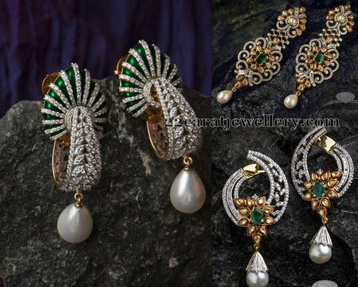 Jewellery Designs: Pearl Drops Diamond Earrings Sets