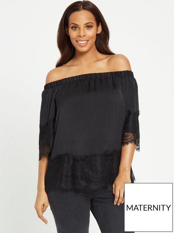 Rochelle Humes Lace Trim Bardot Top Perfect for pre-baby parties or get-togethers with the girls, this maternity bardot top by Rochelle Humes is a gorgeous take on a flirty style, flattering your new curves and beautifying your bump. In classic black, the lace trim brings a touch of elegance to your look, while the flowing sheer overlay adds delicate detail. For a simple yet versatile outfit, pair this top with ripped skinnies and matching heels.Washing Instructions: Machine Washable