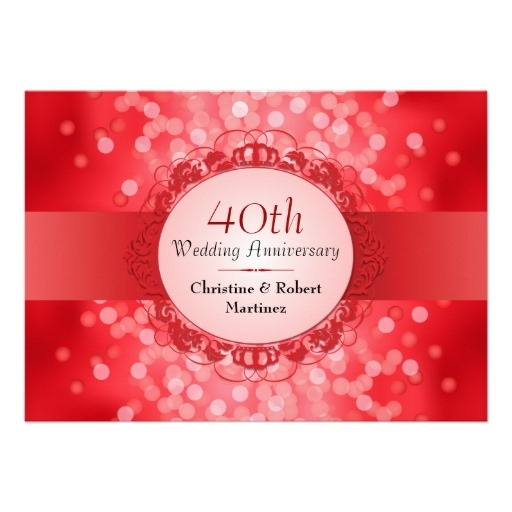 40th Wedding Anniversary Gift Ideas For Friends: Ruby Red Bokeh 40th Anniversary Party Card