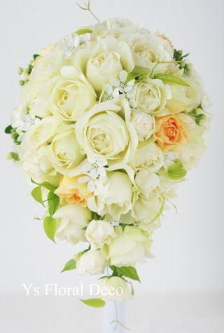 カップ咲のバラ、ホワイトスター、グリーンは控え目、挿し色をいれてys floral deco  @ウェスティンホテル東京