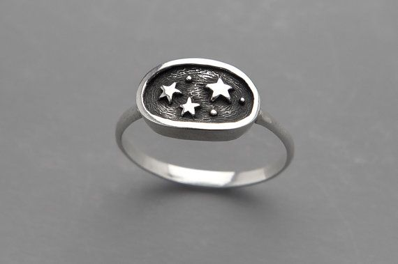 Night Sky Galaxy Ring Black Star Ring от SilveryLake на Etsy
