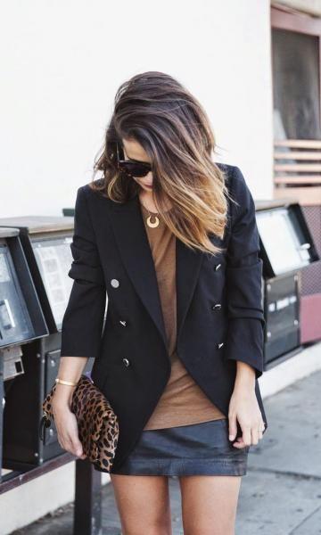 Look Saia de Couro: Blazer