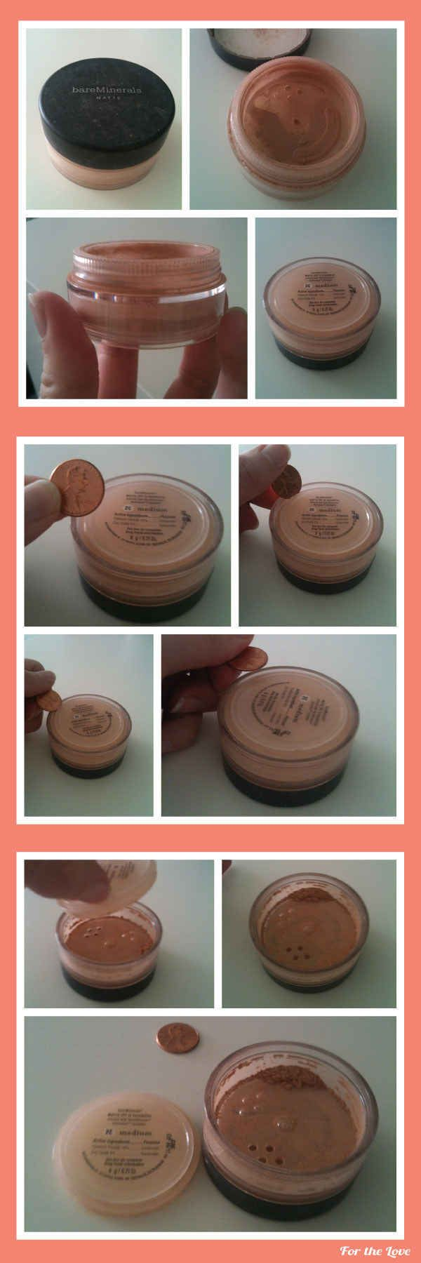 Use this nifty coin trick to get the most out of your powders. | 42 Money-Saving Tips Every Makeup Addict Needs To Know