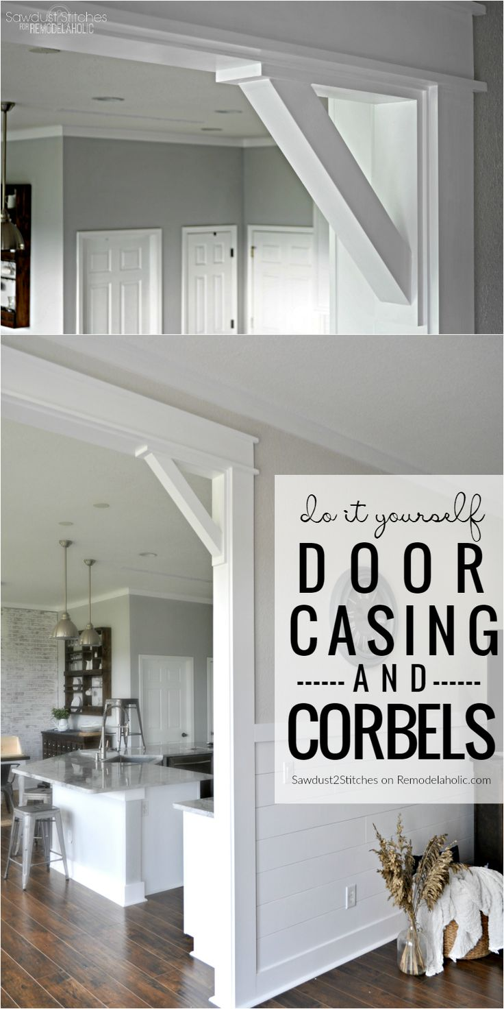 Upgrade from builder basic by installing a DIY craftsman door casing with easy DIY corbels.