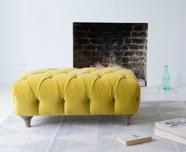 Our Dimple is a gorgeous chesterfield style footstool. This deep-buttoned beauty is handmade in Blighty. Order free fabric swatches online!