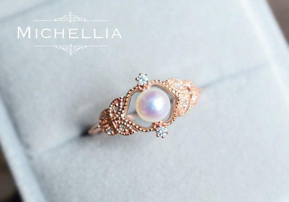 Vintage Rose Pearl Engagement Ring, 14K/18K Solid Rose Gold Saltwater Akoya Pearl Ring, Promise Ring, Woodland Wedding Gift, June Birthstone