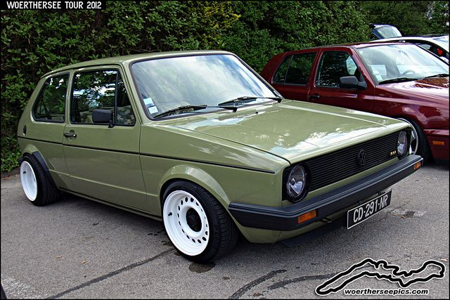 Green VW Golf Mk1 by retromotoring, via Flickr. Those rims! Shout out to puke green.