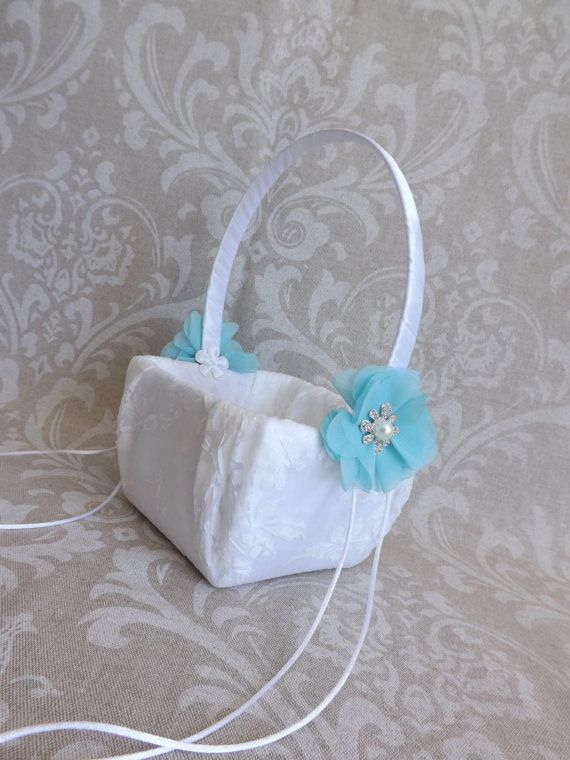 Tiffany Blue Wedding Flower Girl Basket Garden by creations4brides