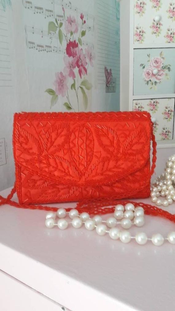 Bijoux Terner Red Beaded Evening Bag Gift For Her Prom Wedding Purse Vintage Long Handle Shoulder Handbag Free Uk Shipping