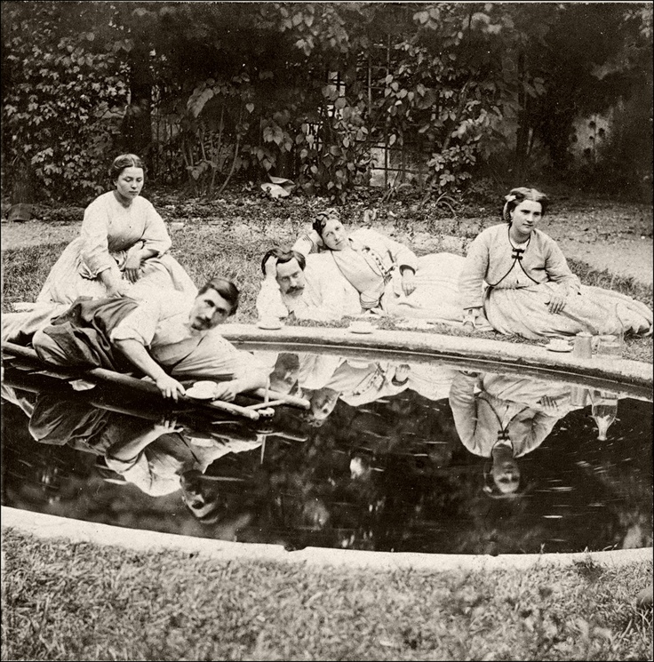 Tea in the garden. 1860s. #Victorian #outdoors