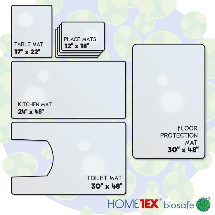 Floortex Biosafe Anti-Microbial Home Starter Mat Set: 4 Place Mats, Kitchen Mat, Table Mat, Toilet Mat, Floor Protection Mat
