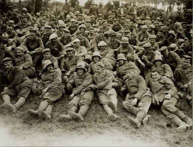 WW1 German prisoners of war during the Battle of Mesen or Messines in June 1917