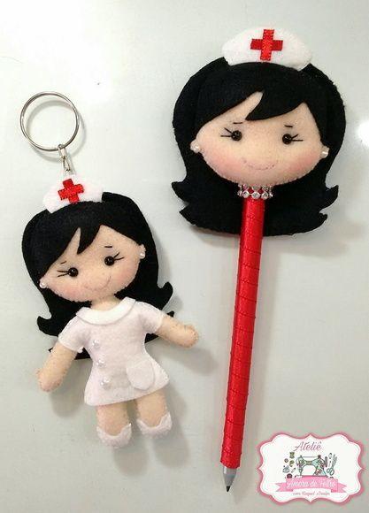 Kit chaveiro + caneta enfermeira