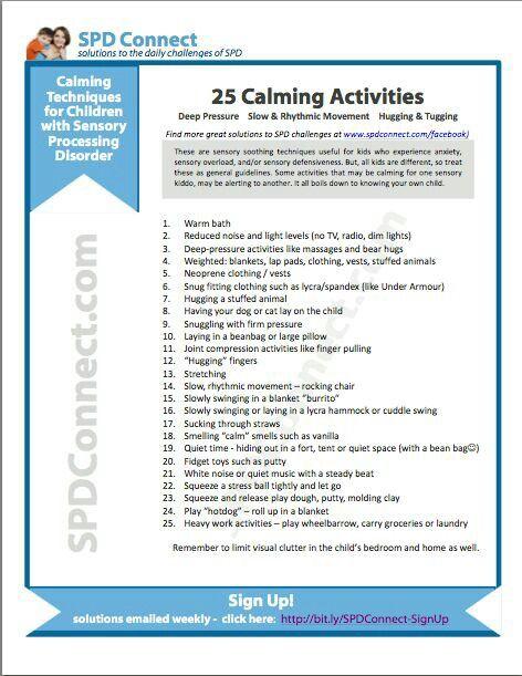 Calming activities for SPD