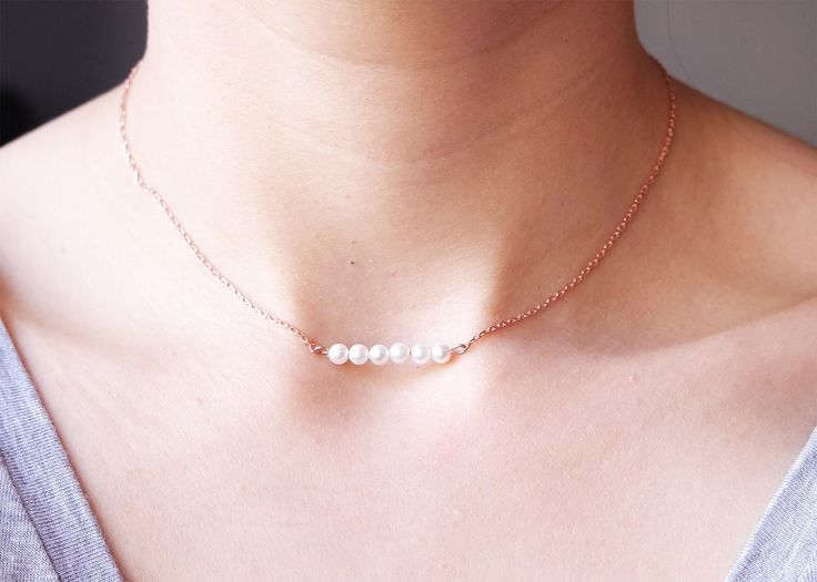 Tiny Pearl Necklace, Dainty Pearl Choker Necklace, Sterling Silver 925K, Delicate Choker Layering Necklace, Rose Gold Filled, Gold Filled by Debilita on Etsy