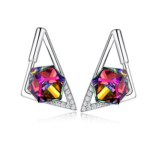 Sterling Silver Colorful Rainbow Swarovski Element Crystal Prism Cube Stud Earrings Triangle ** You can get more details by clicking on the image. Note:It is Affiliate Link to Amazon.
