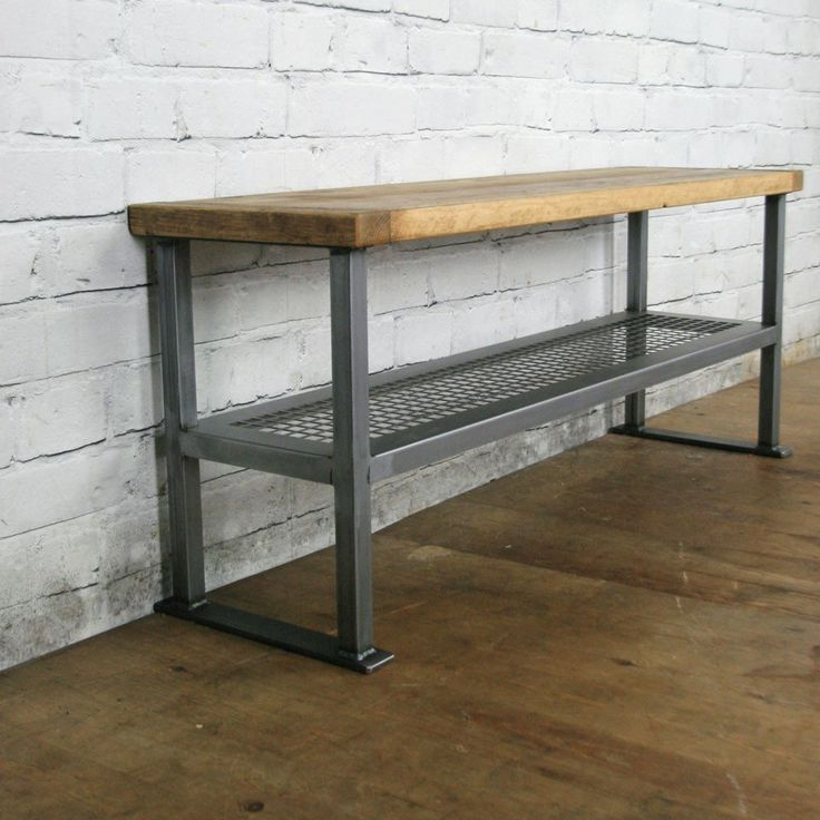 Rustic Industrial Shoe Bench *2 x Oak Wax Finish IN STOCK*