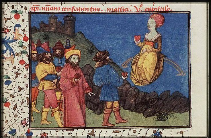 Venus, sitting on a rainbow, with her devotees who offer their hearts to her    ----The Hague, KB, 74 G 27 .   Christine de Pisan, L'Epistre d'Othea Place of origin, date:  Auvergne(?); c. 1450-1475       http://manuscripts.kb.nl/show/manuscript/74+G+27