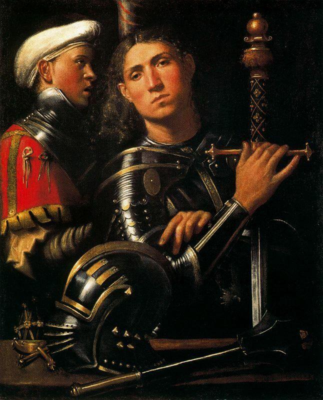 Giorgione (Giorgio Barbarelli da Castelfranco) ~ Portrait of a Warrior with his Equerry, c.1509