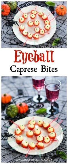 Spooky Eyeball Caprese Bites Recipe - fun easy halloween food - perfect for Halloween party food snacks and kids lunch boxes - Eats Amazing UK #HalloweenFood #FunFood #KidsFood #Partyfood #Halloween #halloweenparty