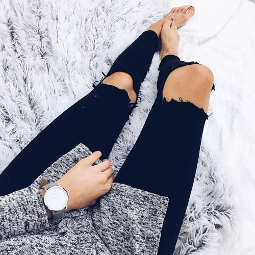 marled sweater + ripped black jeans