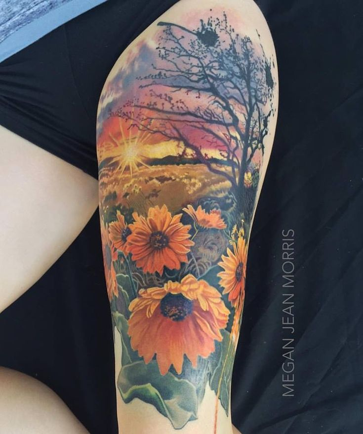 Sunflowers full color thigh tattoo by me Megan Jean Morris. Wallingford CT