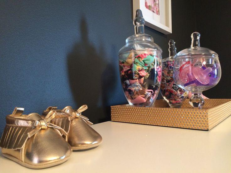 Apothecary jars for headband & pacifier storage in baby girl elegant nursery