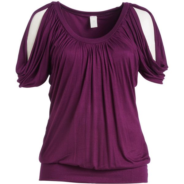 GLAM Eggplant Cutout Blouse ($25) ❤ liked on Polyvore featuring plus size women's fashion, plus size clothing, plus size tops, plus size blouses, plus size, cut out blouse, women's plus size blouses, cutout blouse, women's plus size tops and long blouse