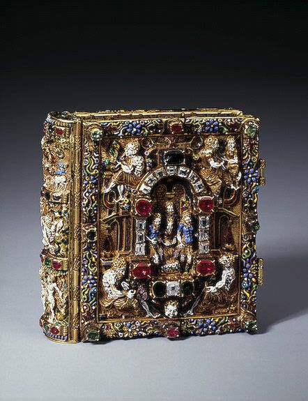 Jeweled Prayer Book with Scenes of the Nativity of Christ and the Resurrection - Gold, cut diamonds, rubies, emeralds, enamel, and paint - Copenhagen, Denmark - Held in the Hermitage Museum in Moscow, Russia - late 16th century