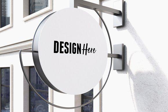 Download Round Signboard Mockup Signboard Signage Design Sign Board Design