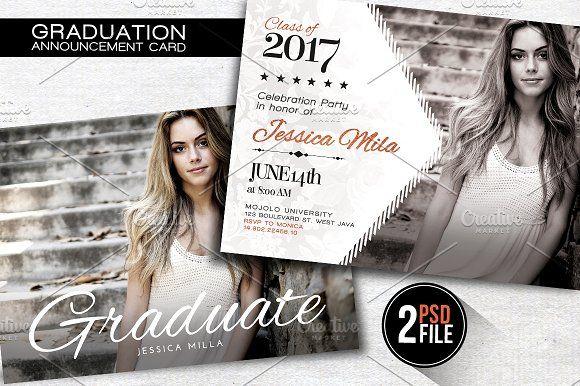 Graduation Announcement Card by Gayuma on @creativemarket