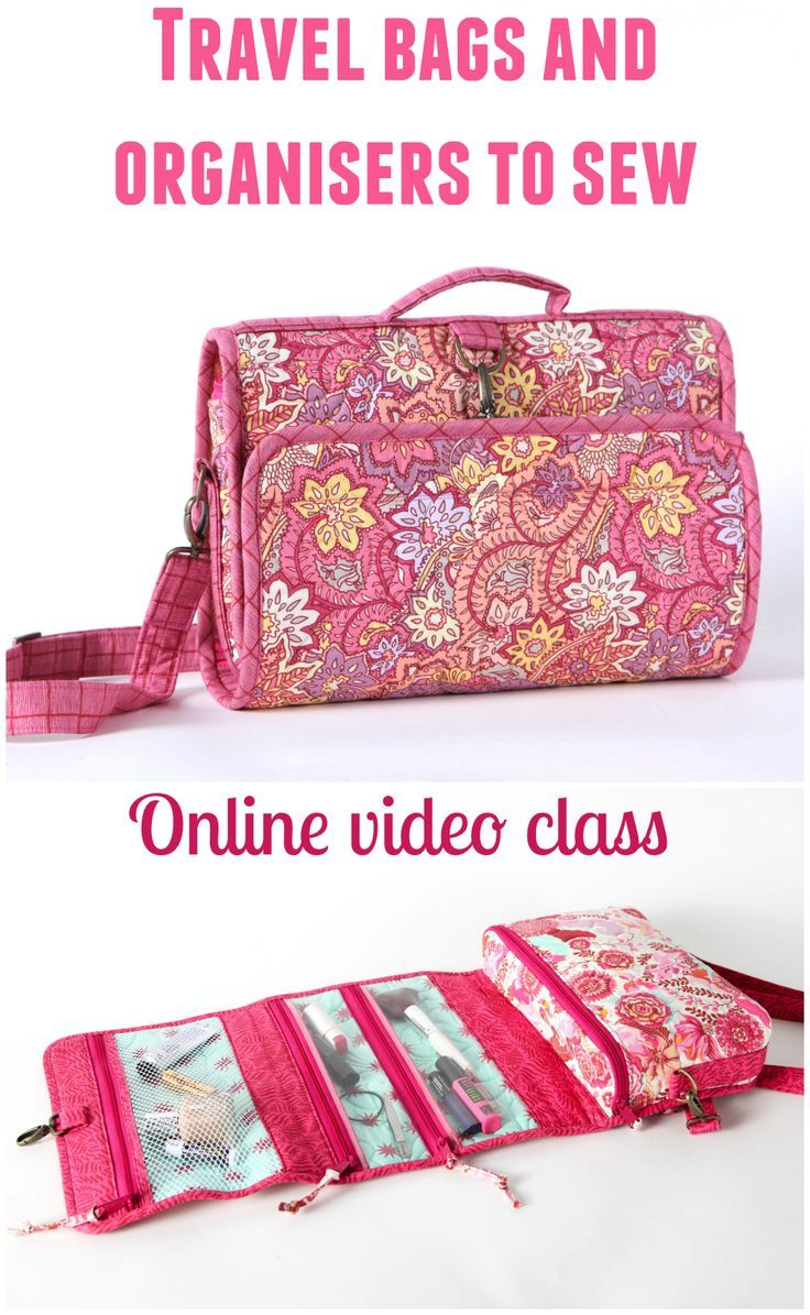 How to sew stylish and sturdy travel bags and organisers. Includes a cosmetics/toiletries roll, and a small suitcase with removable zippered inserts. Sewing patterns and full step by step video tutorials.