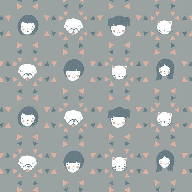 Pinks and Greys // Animal & People patterns - Olivia Mew