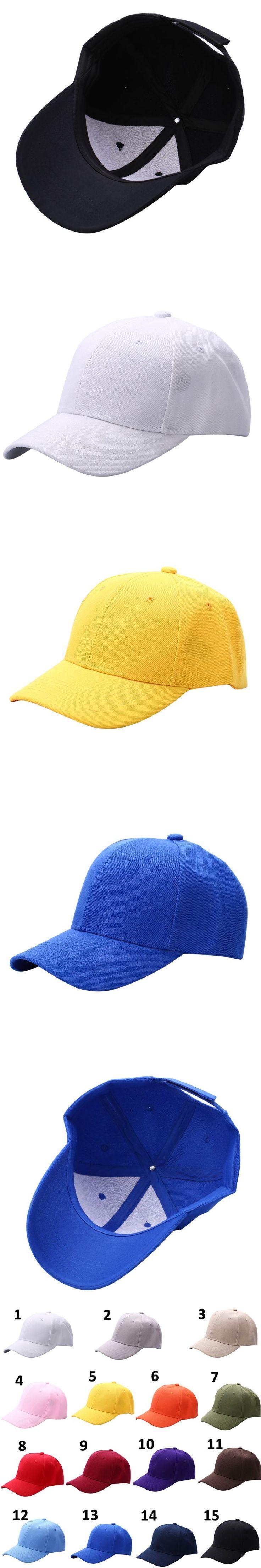 Men Women Plain Baseball Cap Unisex Curved Visor Hat Hip-Hop Adjustable Peaked Hat Visor Caps Solid Color P1