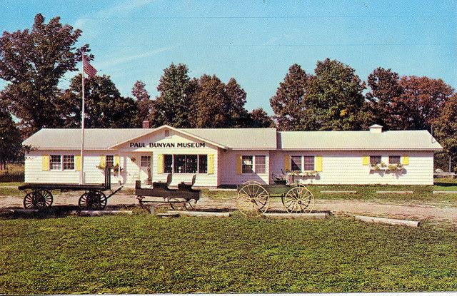 This is how the Paul Bunyan Museum appeared in the 1950's as one was approaching Baldwin, Michigan, from the south on M-37. Description from bigbasslakemi.wordpress.com. I searched for this on bing.com/images