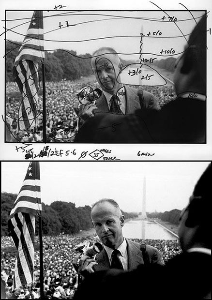 A portrait of photographer Henri Cartier-Bresson, captured by Bob Henriques during Martin Luther King's march on Washington:
