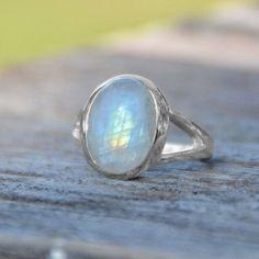 Sterling Silver Rainbow Moonstone Ring , - Sparkle & Jade - 2