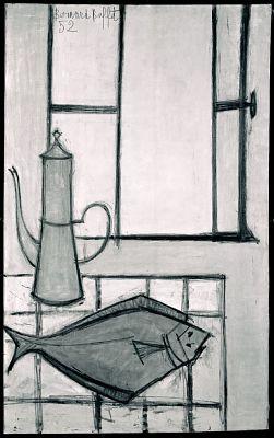 Still Life with Fish, 1952 Bernard Buffet, French, b. Paris, 1928–1999  Oil on linen, 51 1/4 x 32 in. (130.0 x 81.3 cm)  Hirshhorn Museum an...