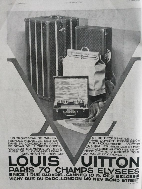 Louis vuitton advertising page from 1931 old magazine ad for framing 83 years old poster
